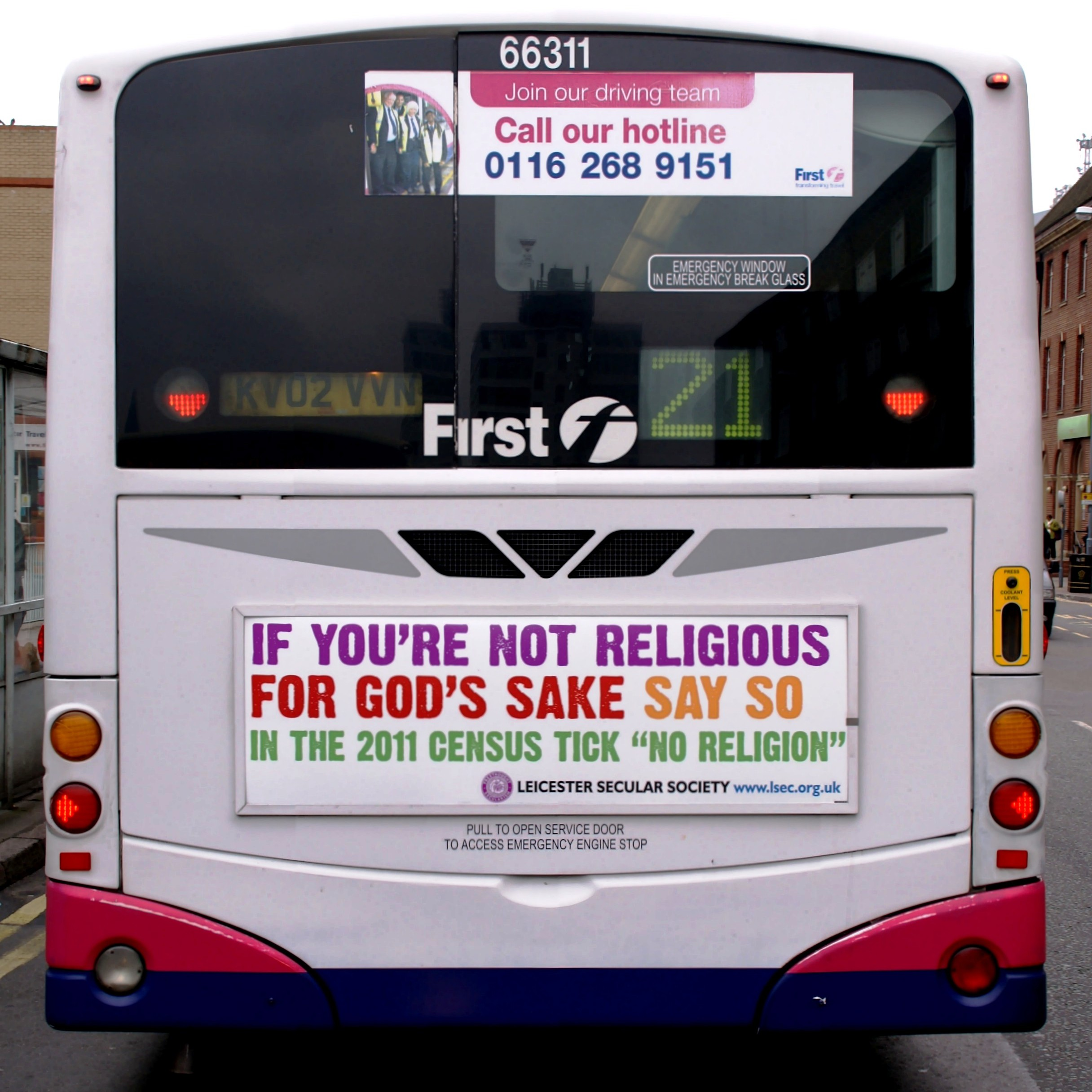 Census Campaign ad on a Leicester bus: Photo Ned Newitt